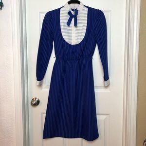 Vintage blue striped Leslie Fay dress